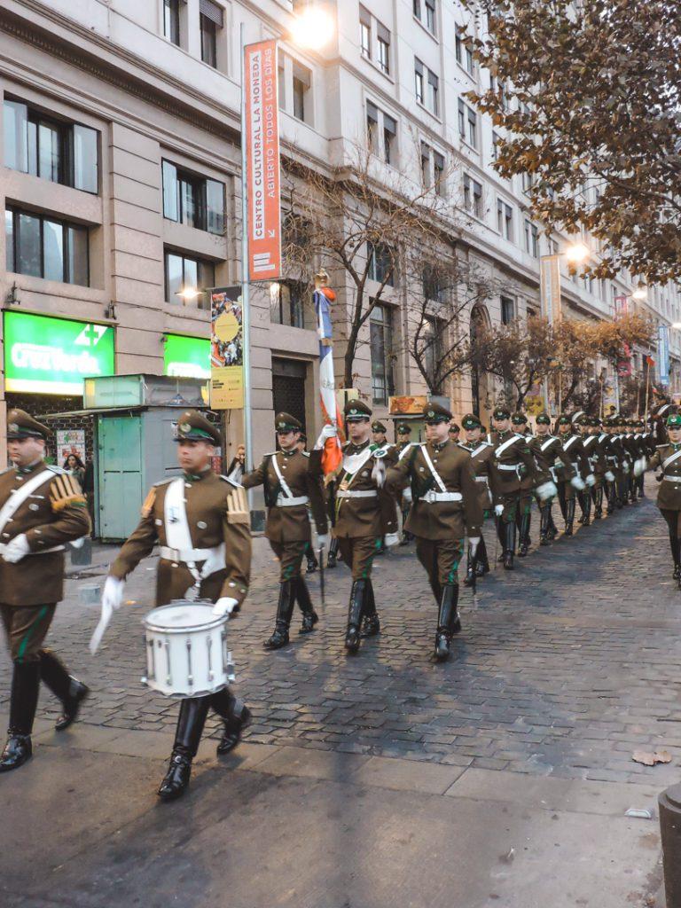 Changing of the Guard outside La Moneda Palace Chile