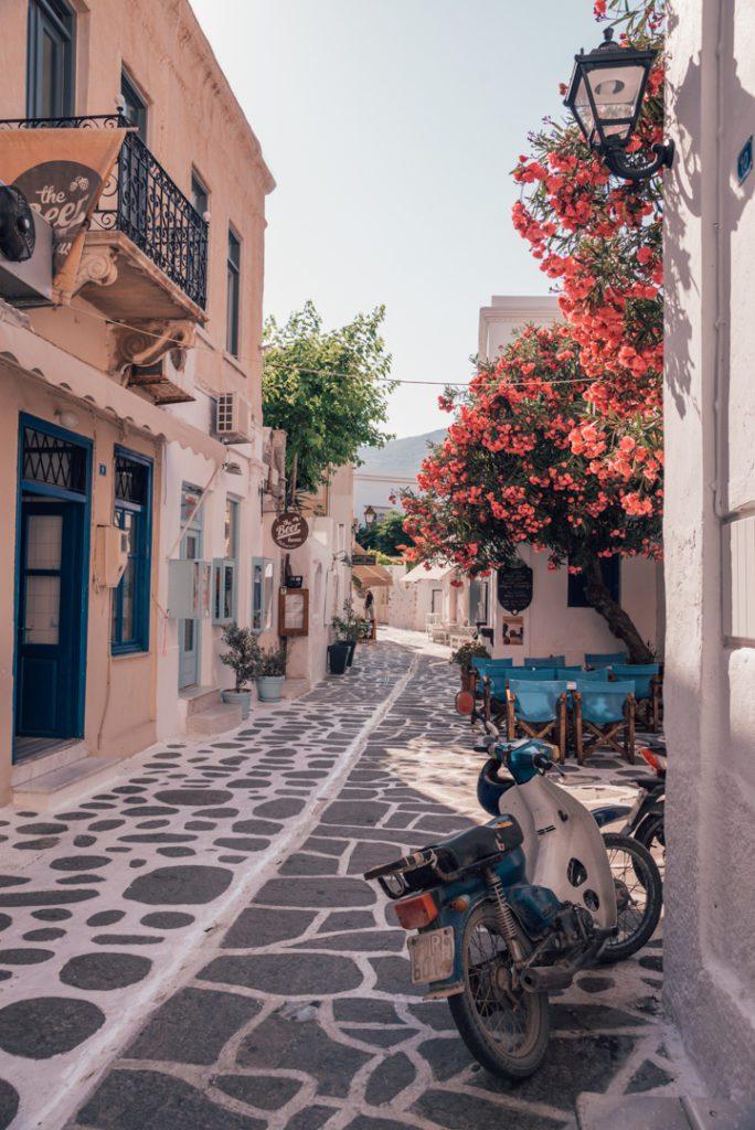 Street in Parikia Greece with motorbike