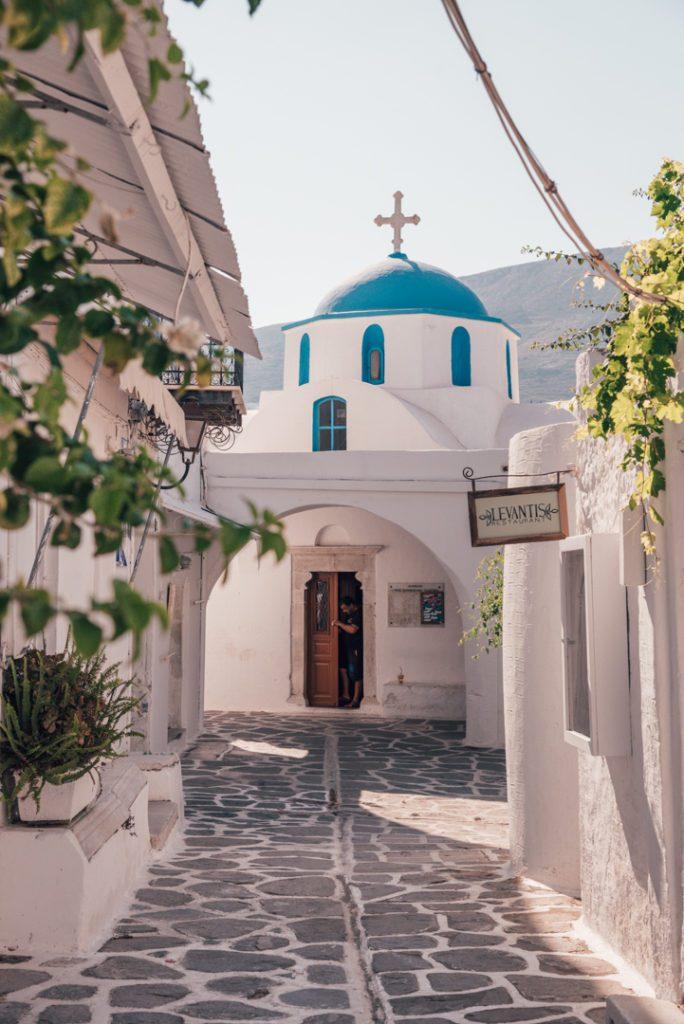 Church in Street in Parikia Greece