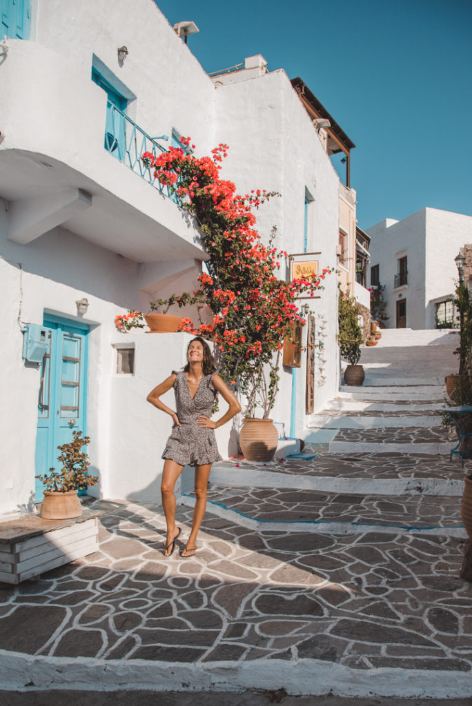 Sunny streets in Plaka Milos