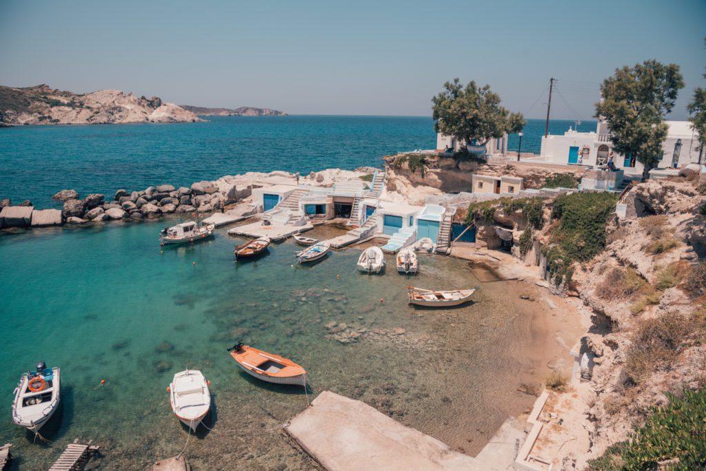 Boats in Milos Greece