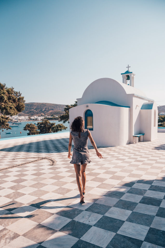 Blue domed churched in Milos