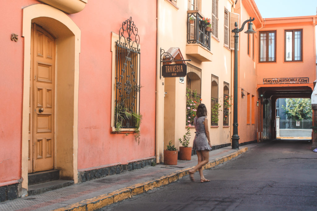 Traditional, colonial and colourful street in downtown Santiago, Chile