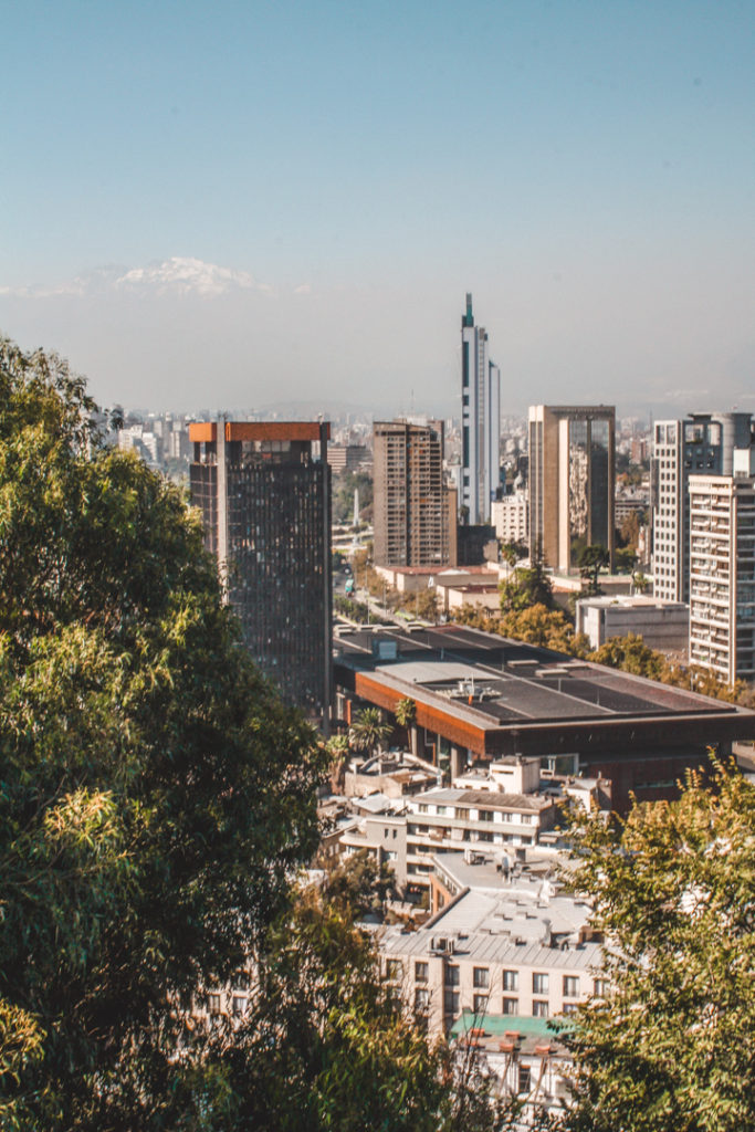 View of Santiago Chile from Santa Lucia hill.