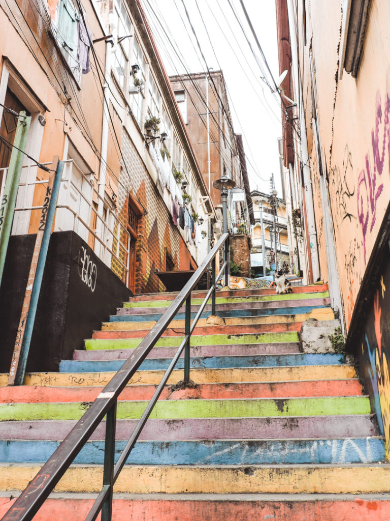 Colourful stairs in Valparaiso