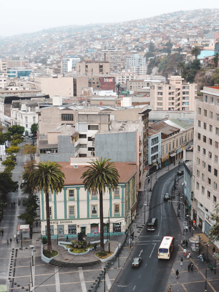 Main street from above in Valparaiso