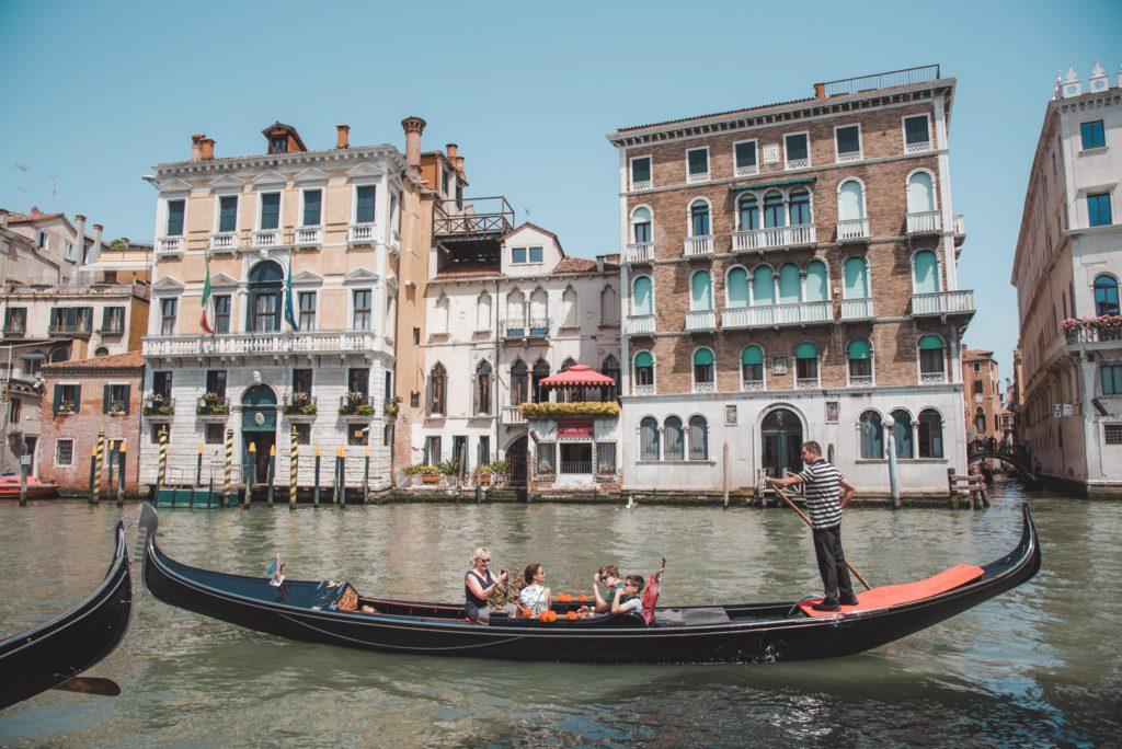 riding a gondola in Venice Italy
