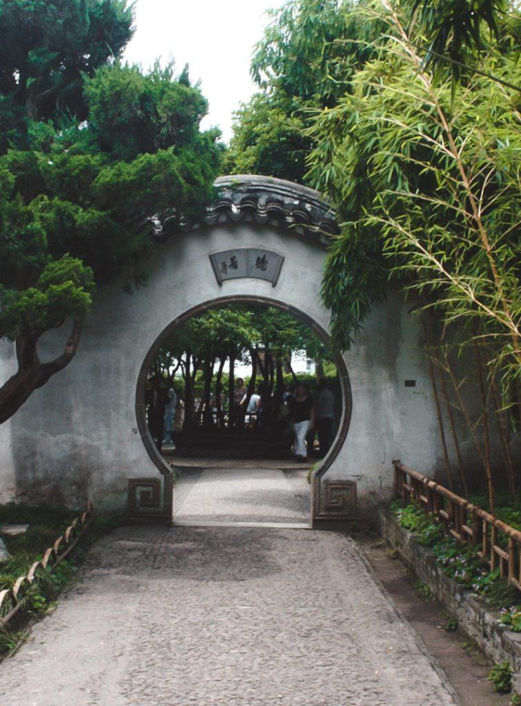 Chinese garden and doorway