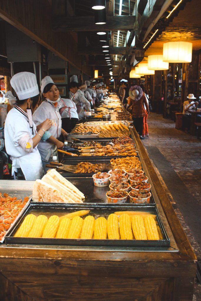 Lijiang China food market