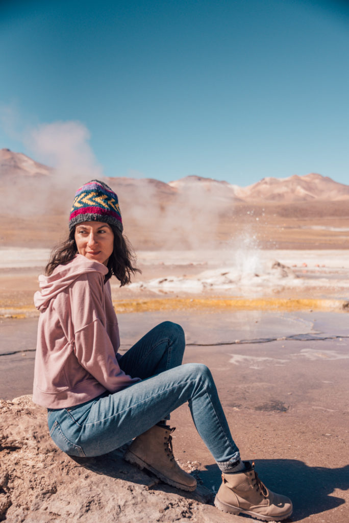 woman at the tatio geysers chile