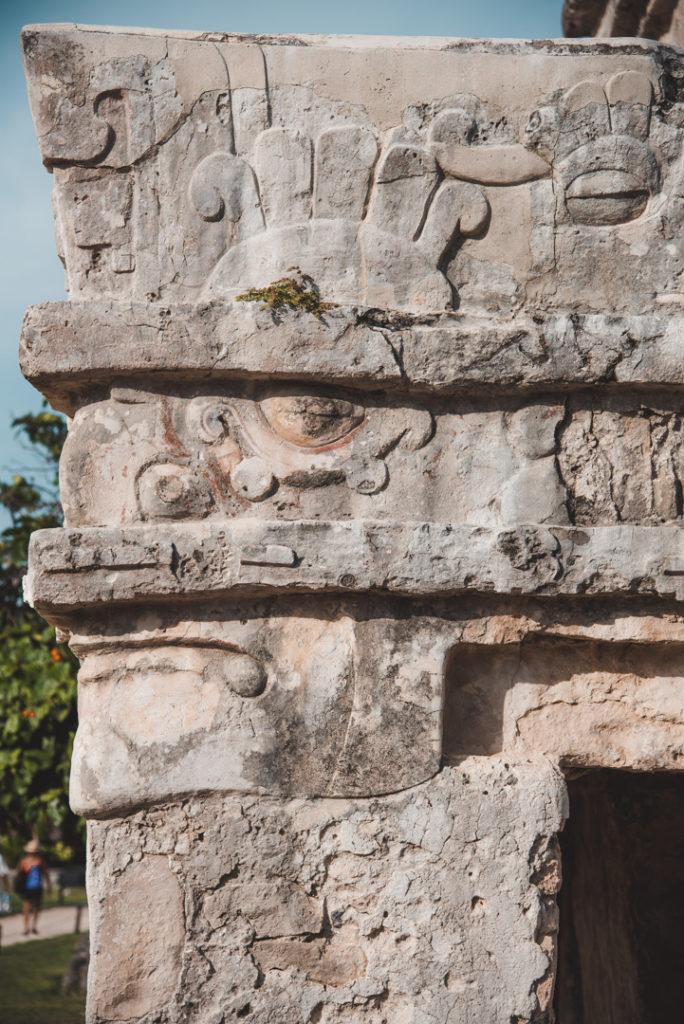 Tulum ruins temple carvings