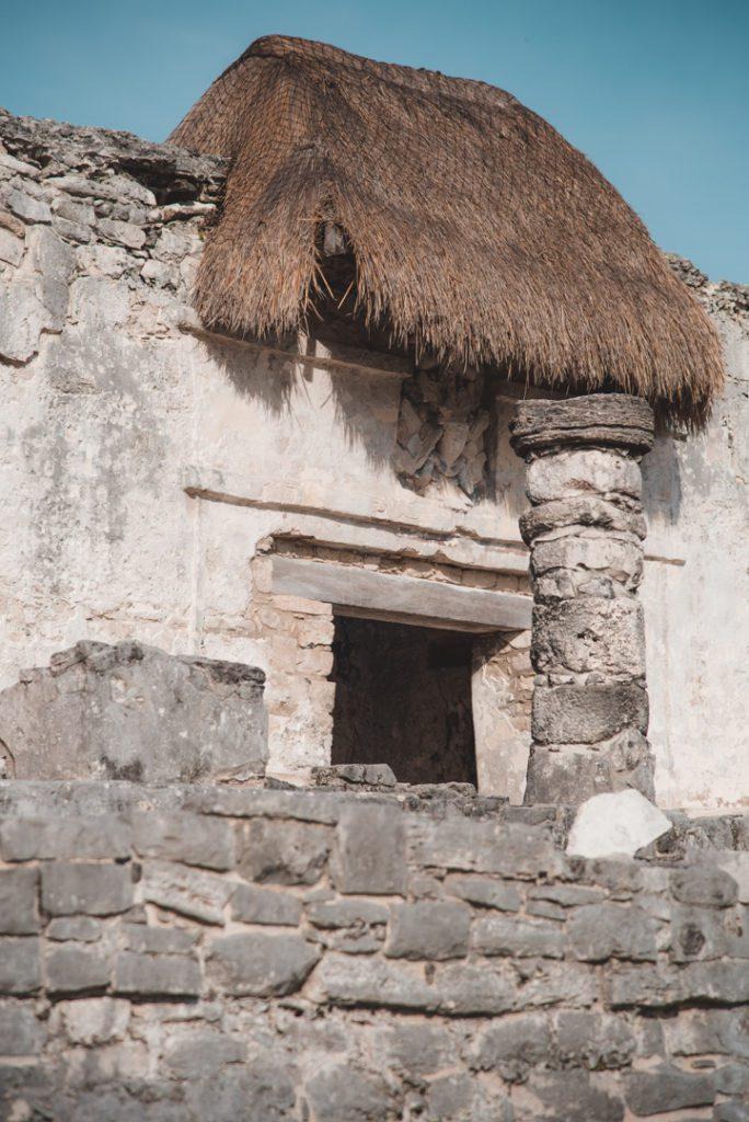 Temple details Tulum ruins, Mexico