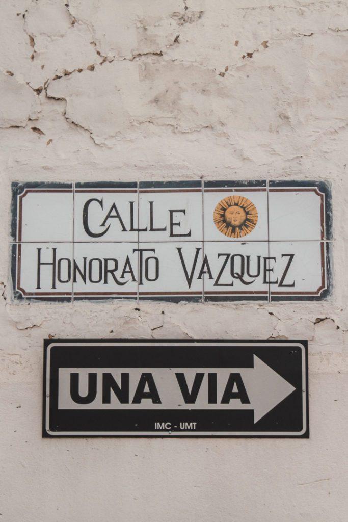 Road sign in Ecuador