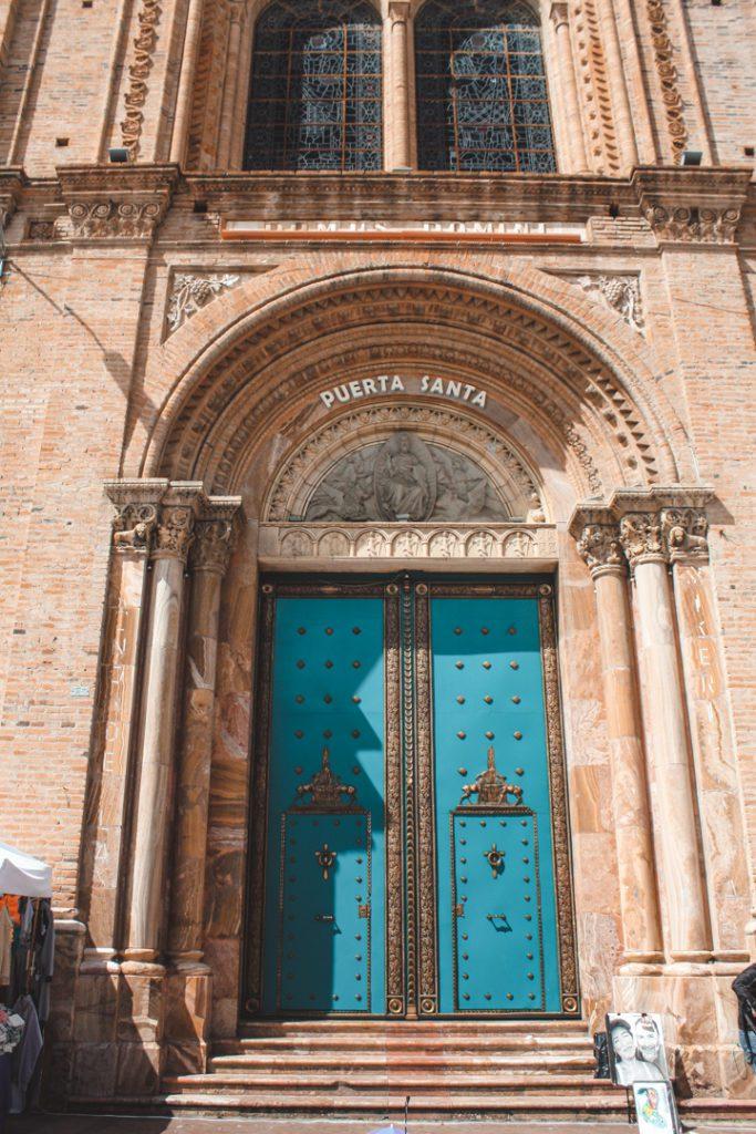 Cathedral doorway in Cuenca Ecuador