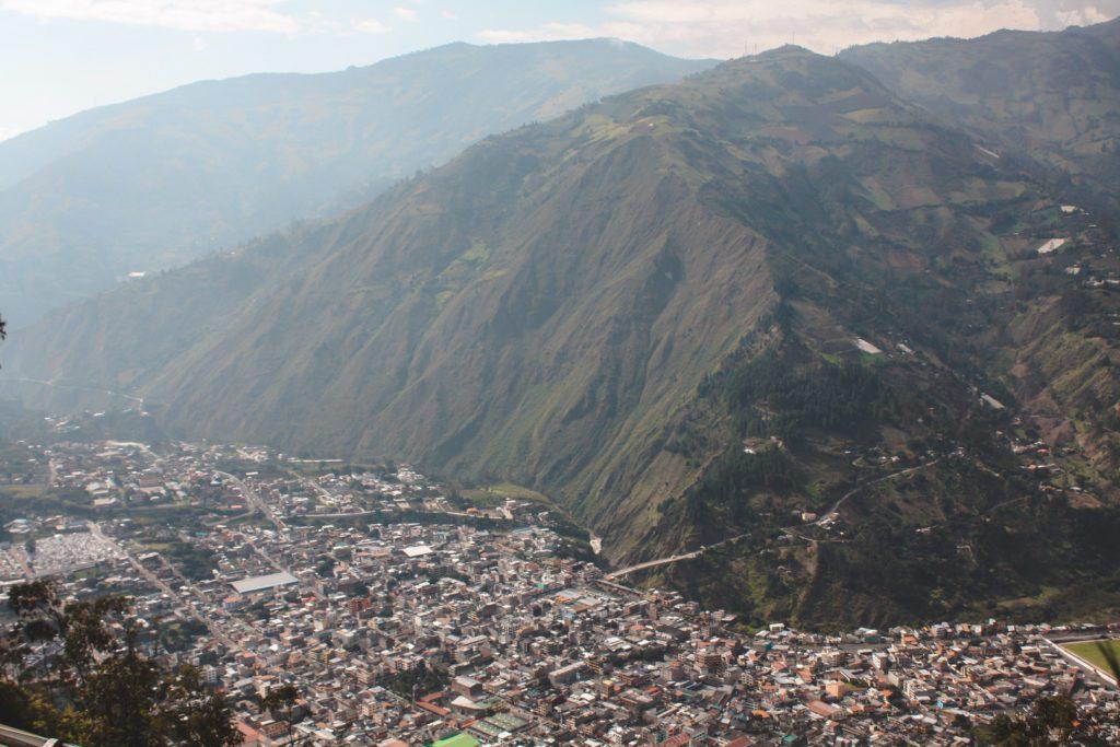 View of Banos town, Ecuador.