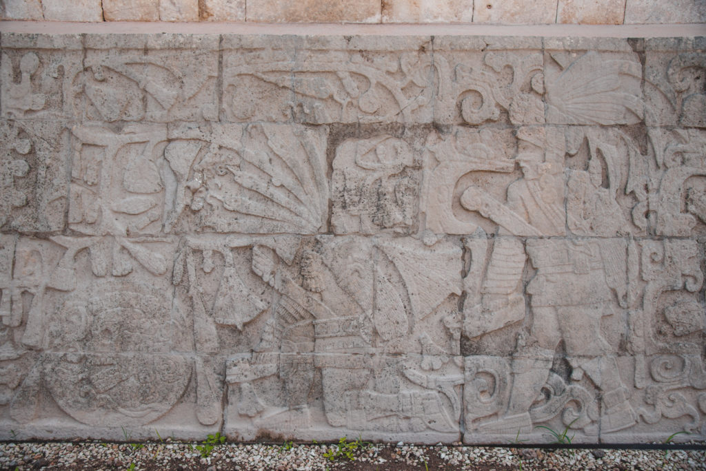 mayan carvings on the great ball court