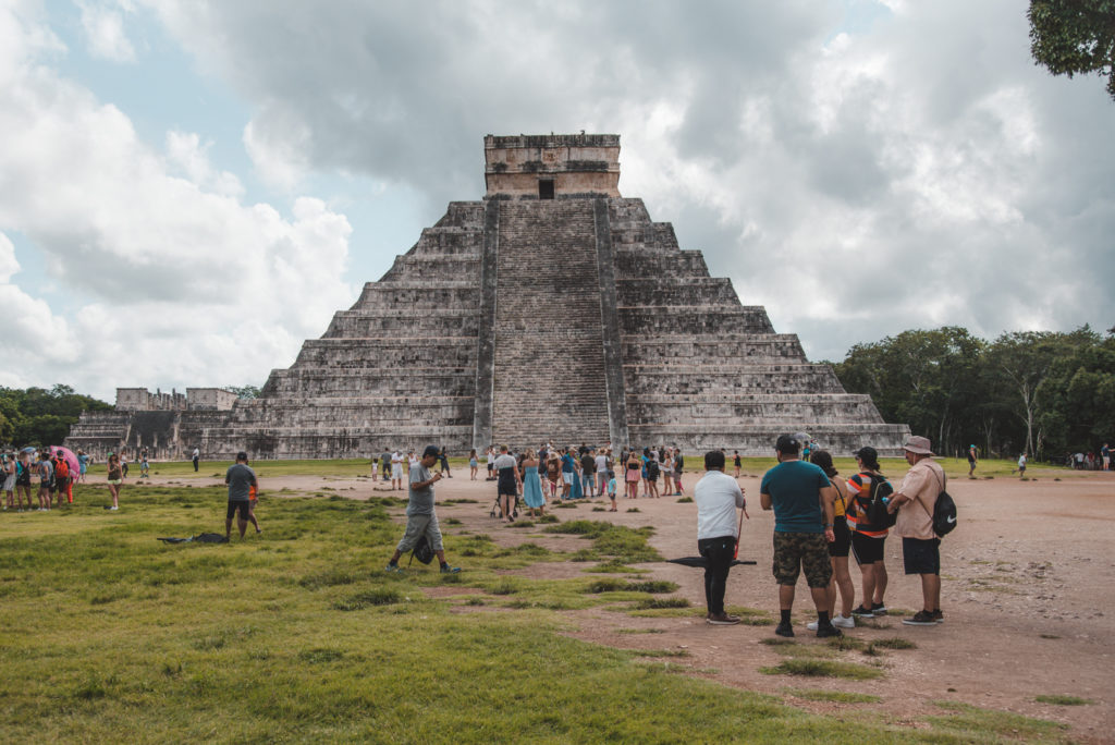 Chichen Itza main pyramid with crowds