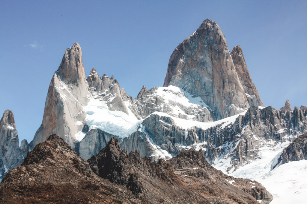 Close up of the Fitz Roy peaks Argentina