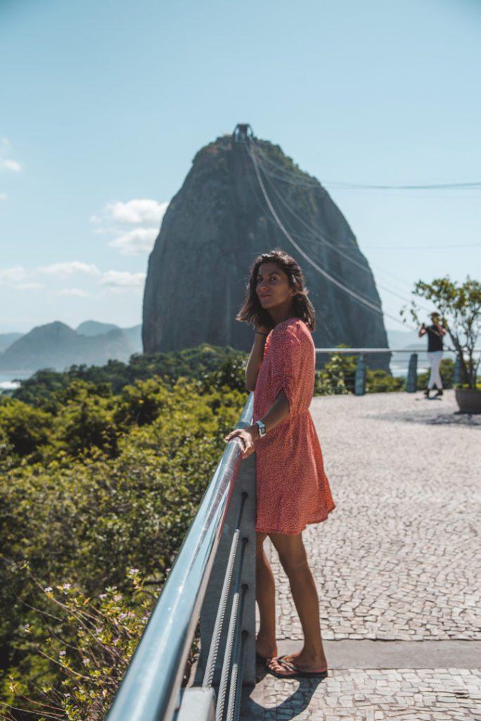 woman by po de azucar rio de janiero brazil