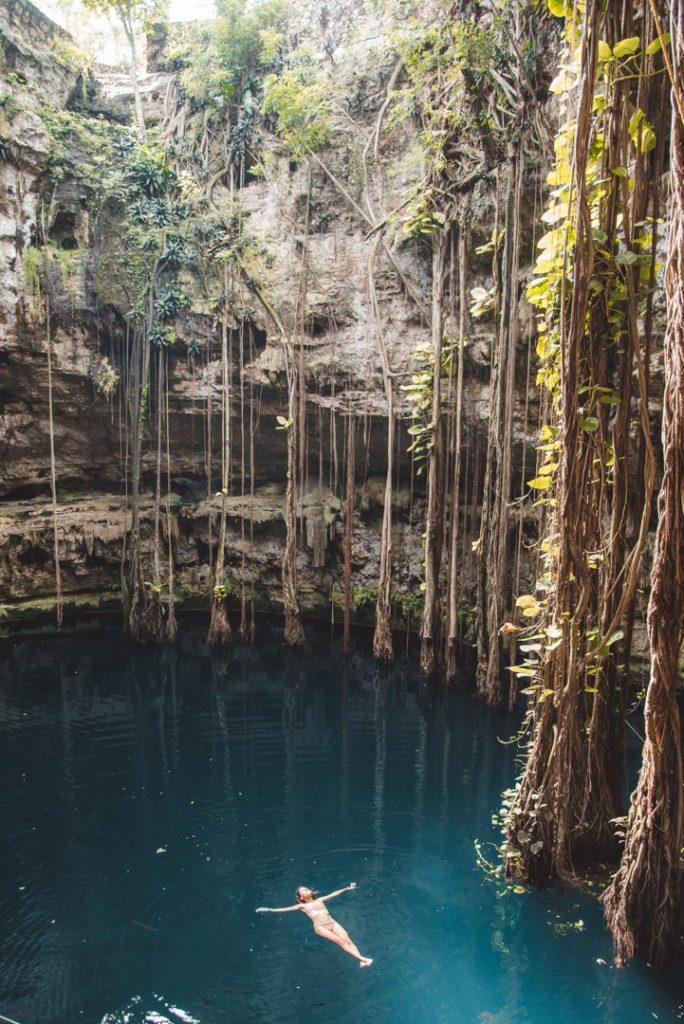 Bathing in Cenote Oxman