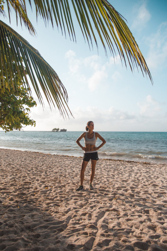Woman on the beach in San Andres working out