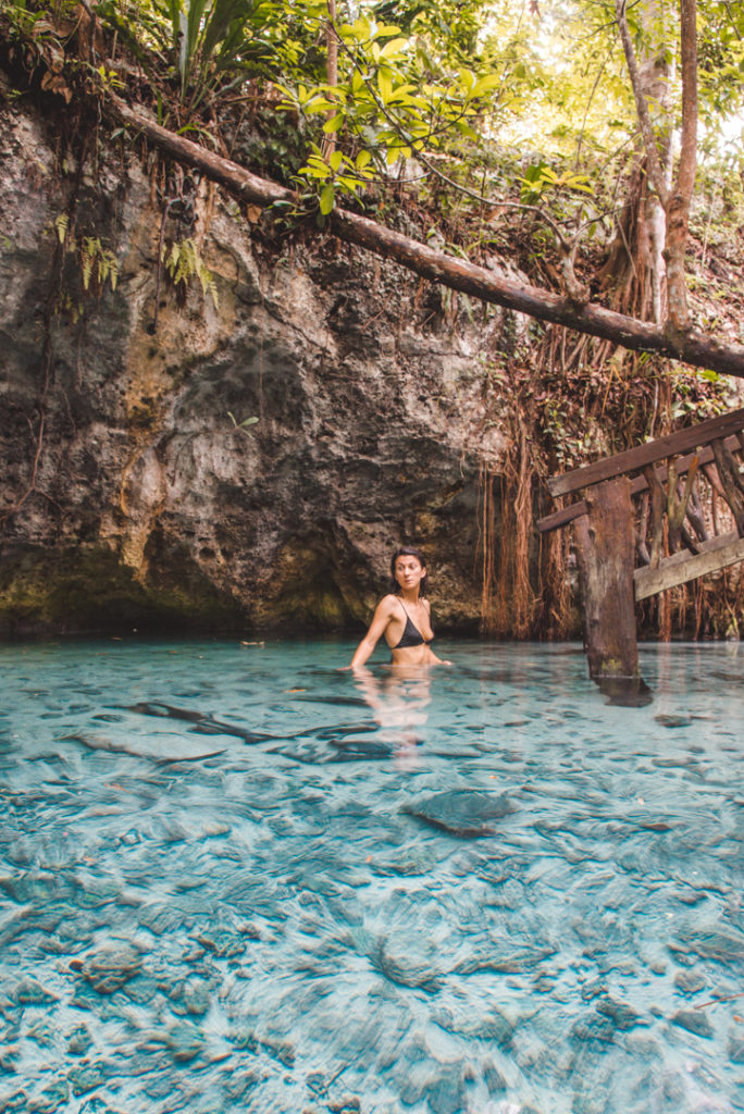 Swimming in Gran Cenote, Tulum Mexico