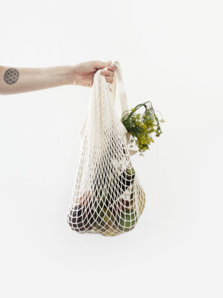 canvas shopping bag with produce inside