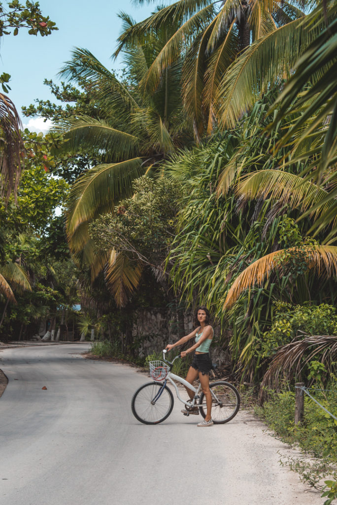 Woman riding a bike on vacation