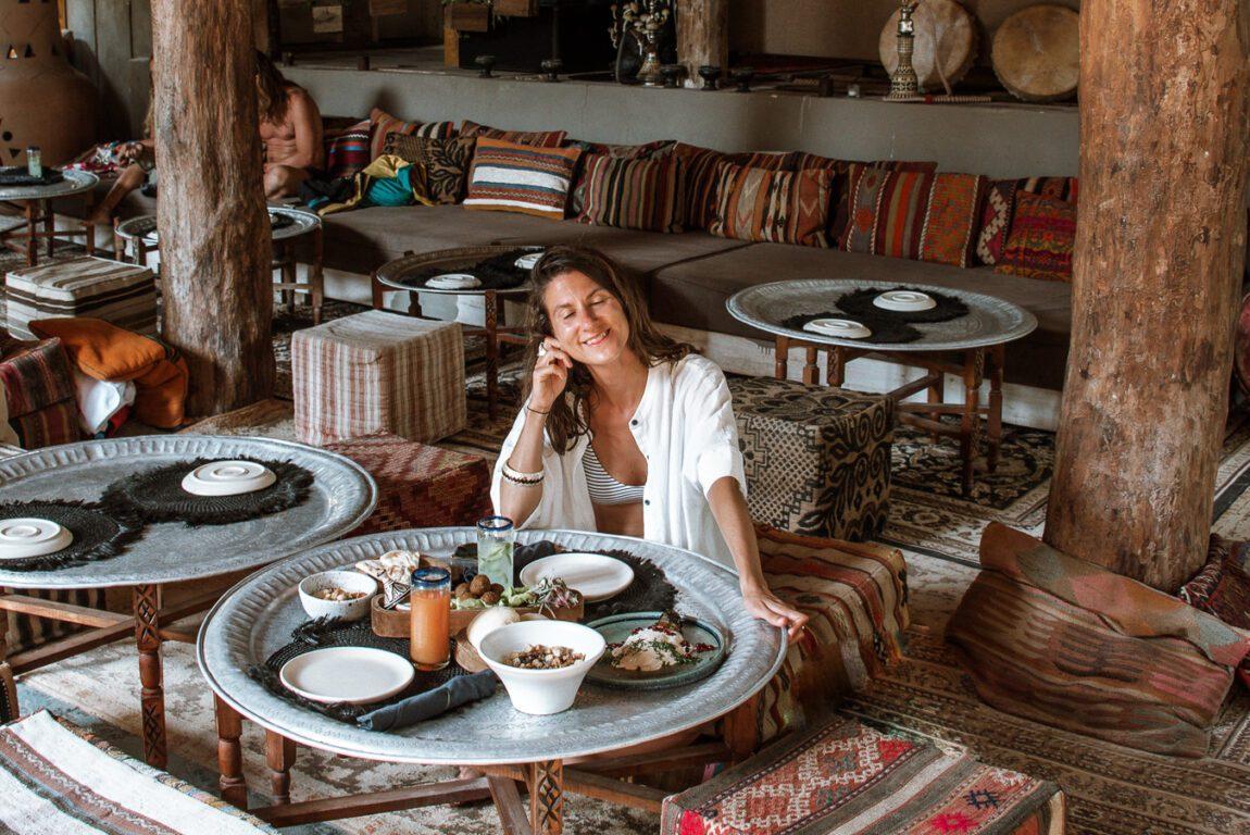 woman at Macondo restaurant Nomade Tulum