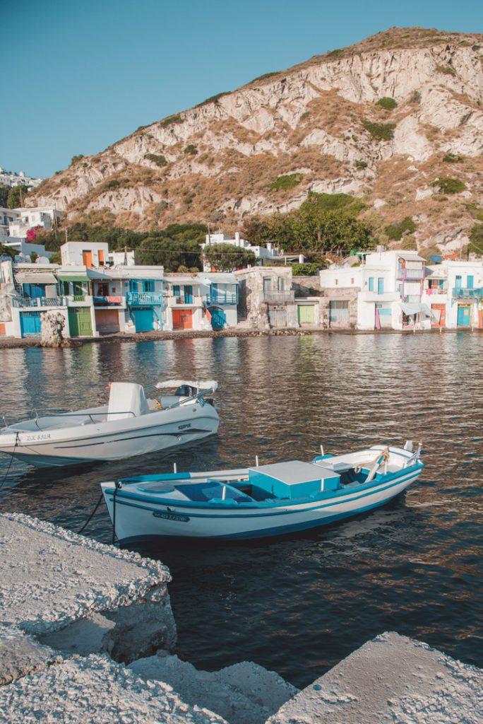 Boats tied in Klima Greece