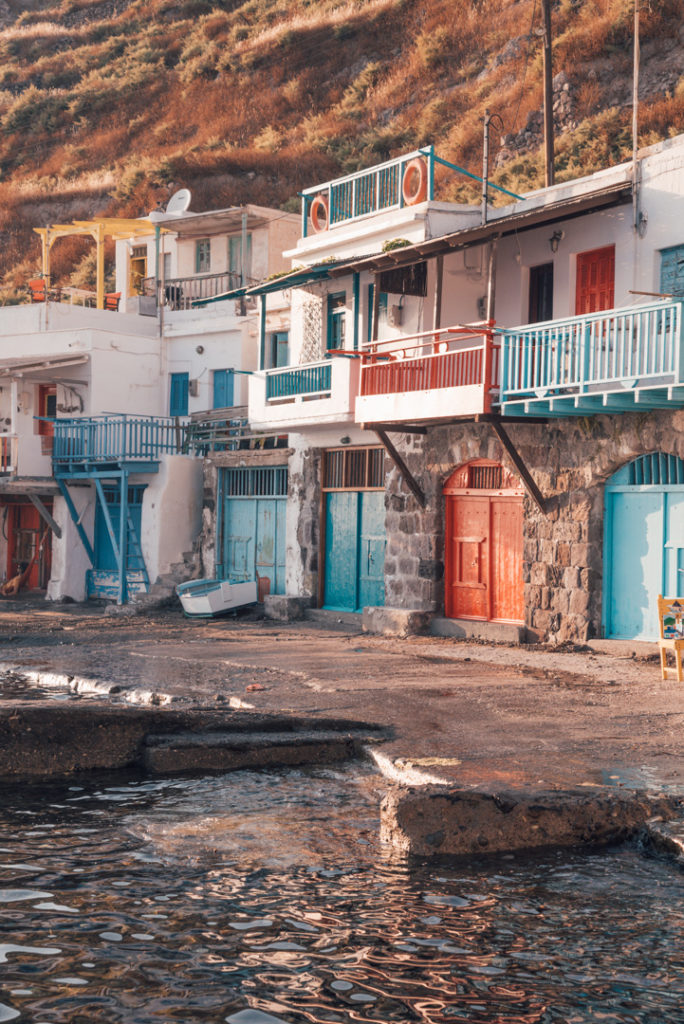 olourful boathouses in Klima village on Milos Greece