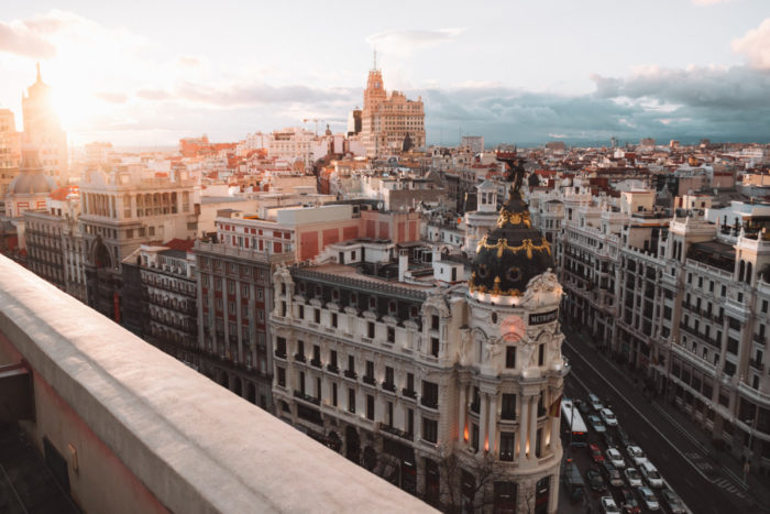 View of central Madrid at sunrise