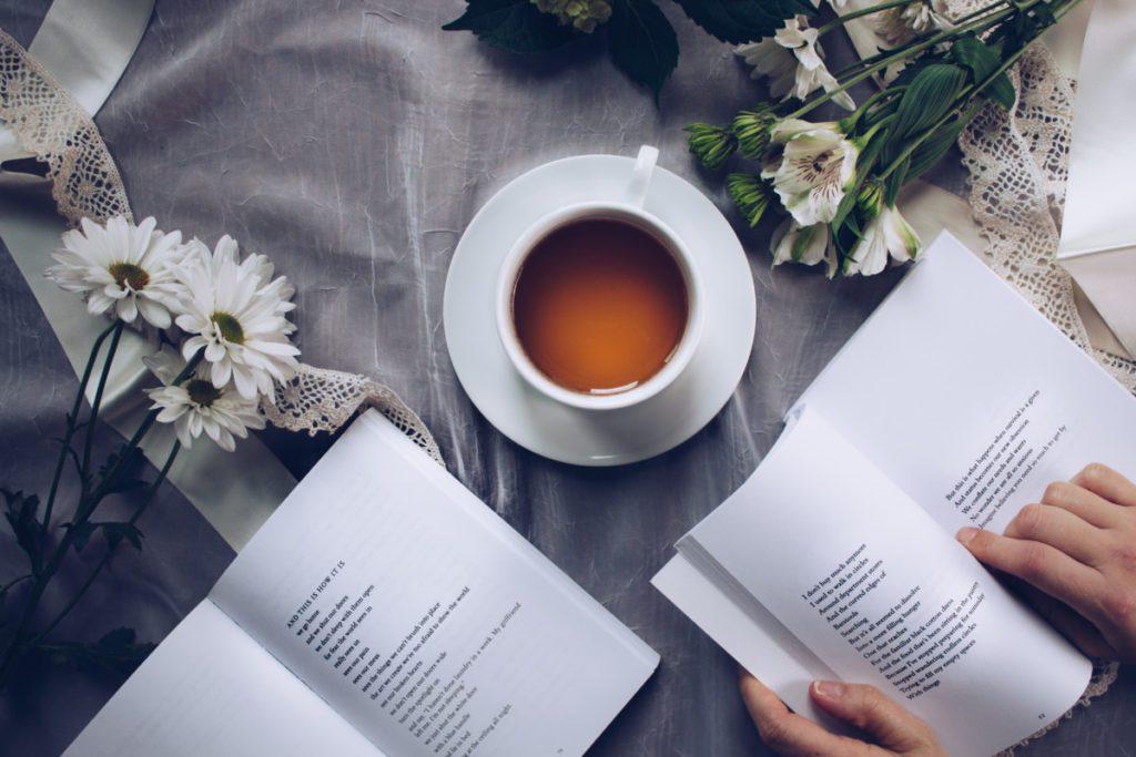 reading books and tea