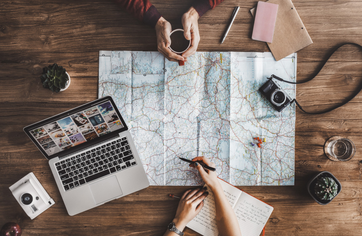 Couple planning next trip