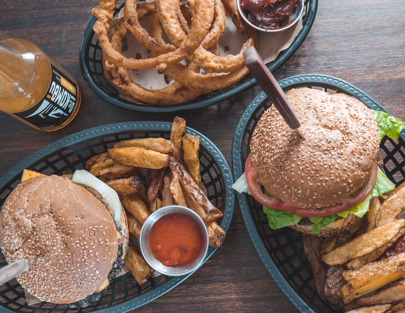Plant-based vegan burgers and onion rings
