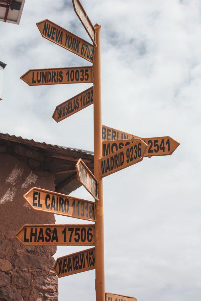 Post at taquile Island, Peru