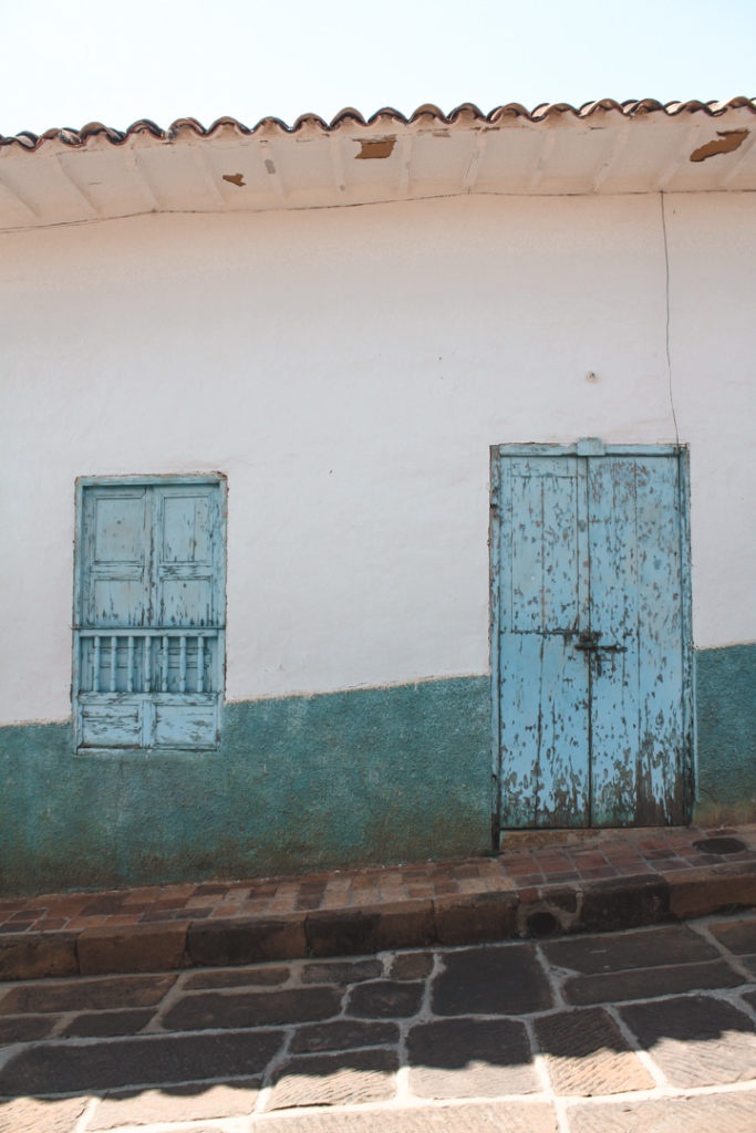 Blue doors in Barichara colombia