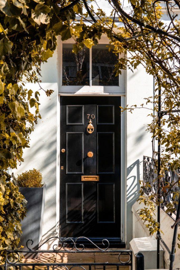 Black doorway in London