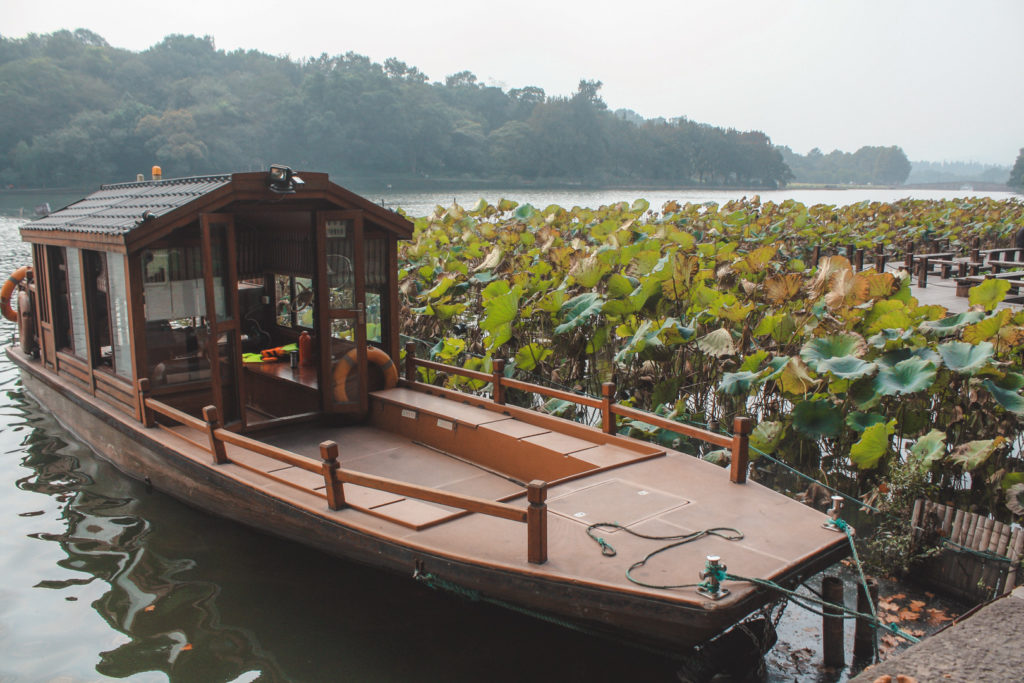 Chinese boat on a lake