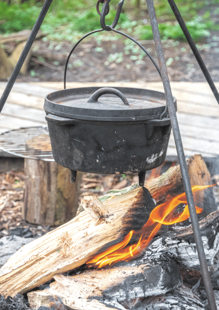 pot on the campfire camping