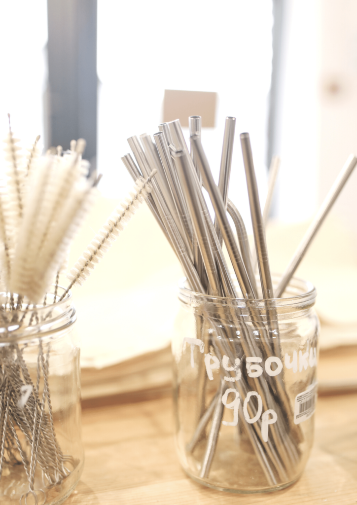 metal straws on sale in a glass jar