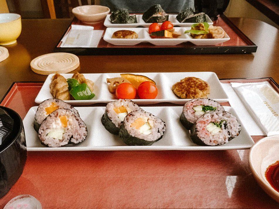 Japanese bento box with vegan sushi