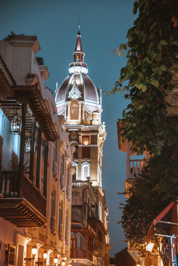 Cartagena glowing architecture at dusk