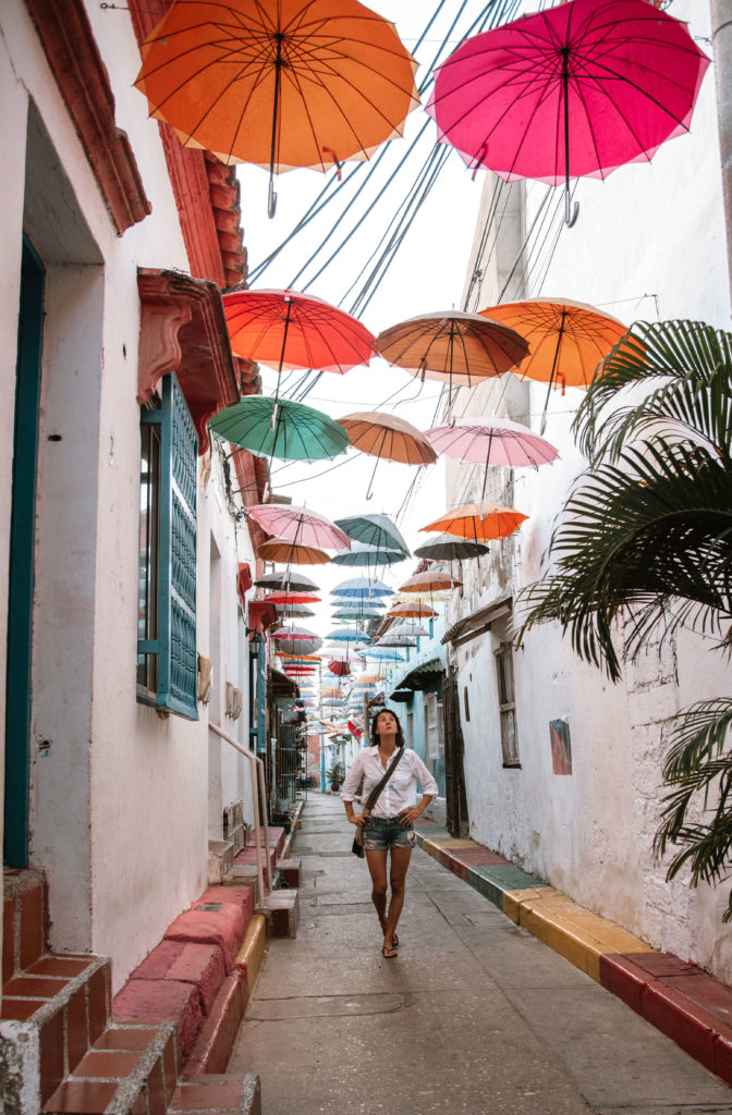 colourful umbrellas over the streets of Cartagena