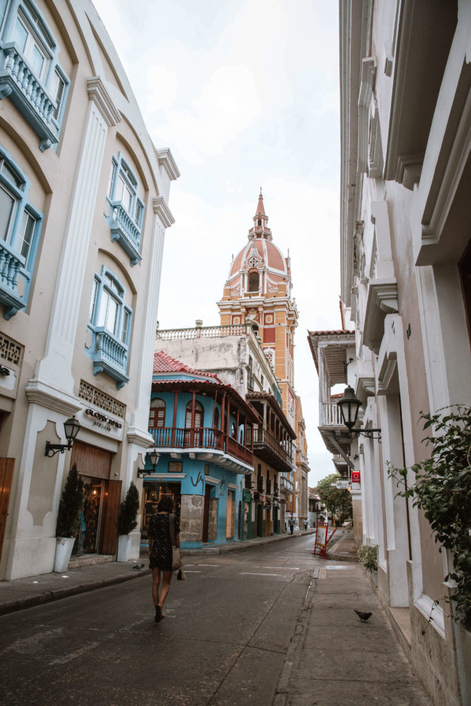 Woman walking down the street of Cartagena Colombia best cities to visit in south america