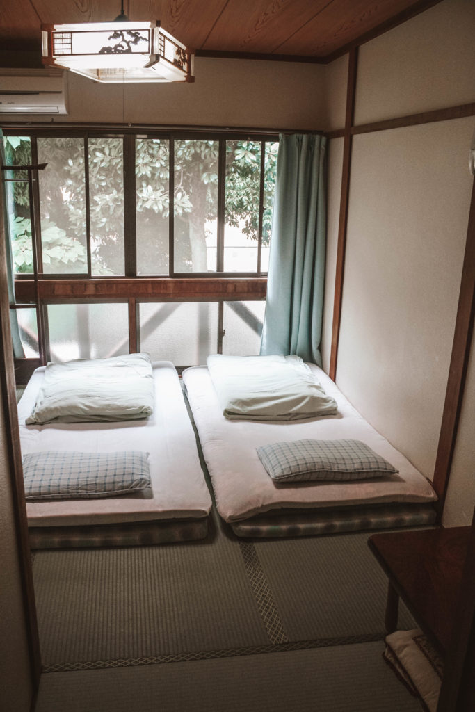 Traditional Japanese bedroom in a ryokan