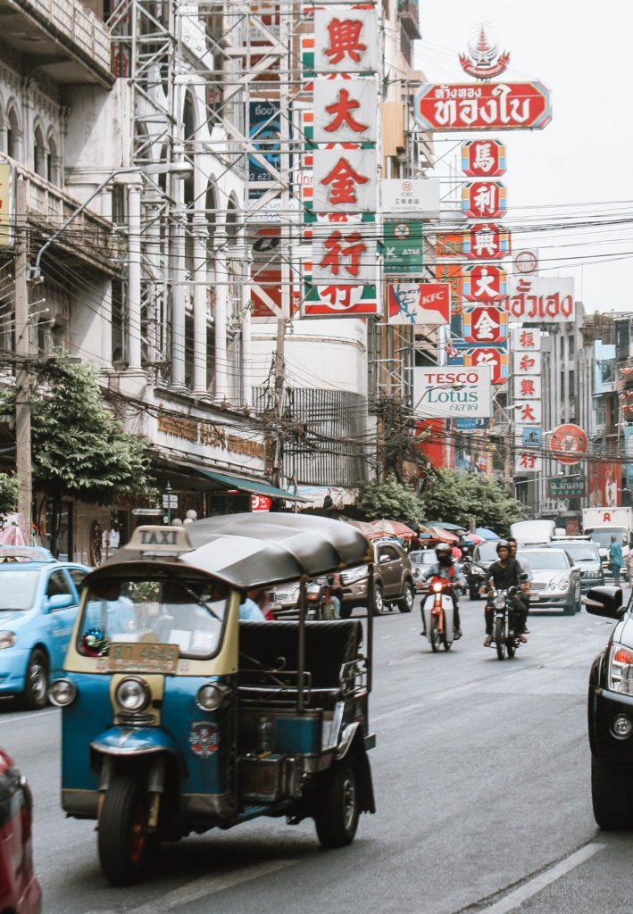 Tuktuk on the street in Bangkok's Chinatown
