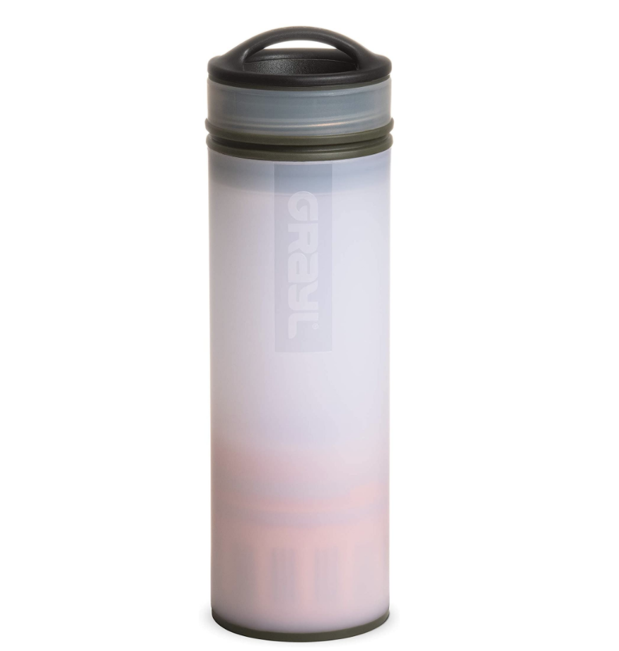 Grayl pink reusable water bottle with filter