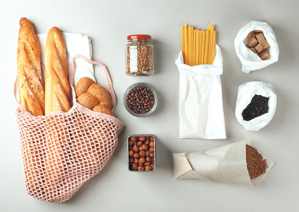 flat lay of sustainable shopping items