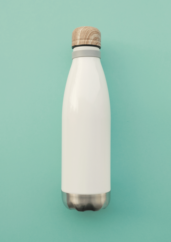 white reusable water bottle